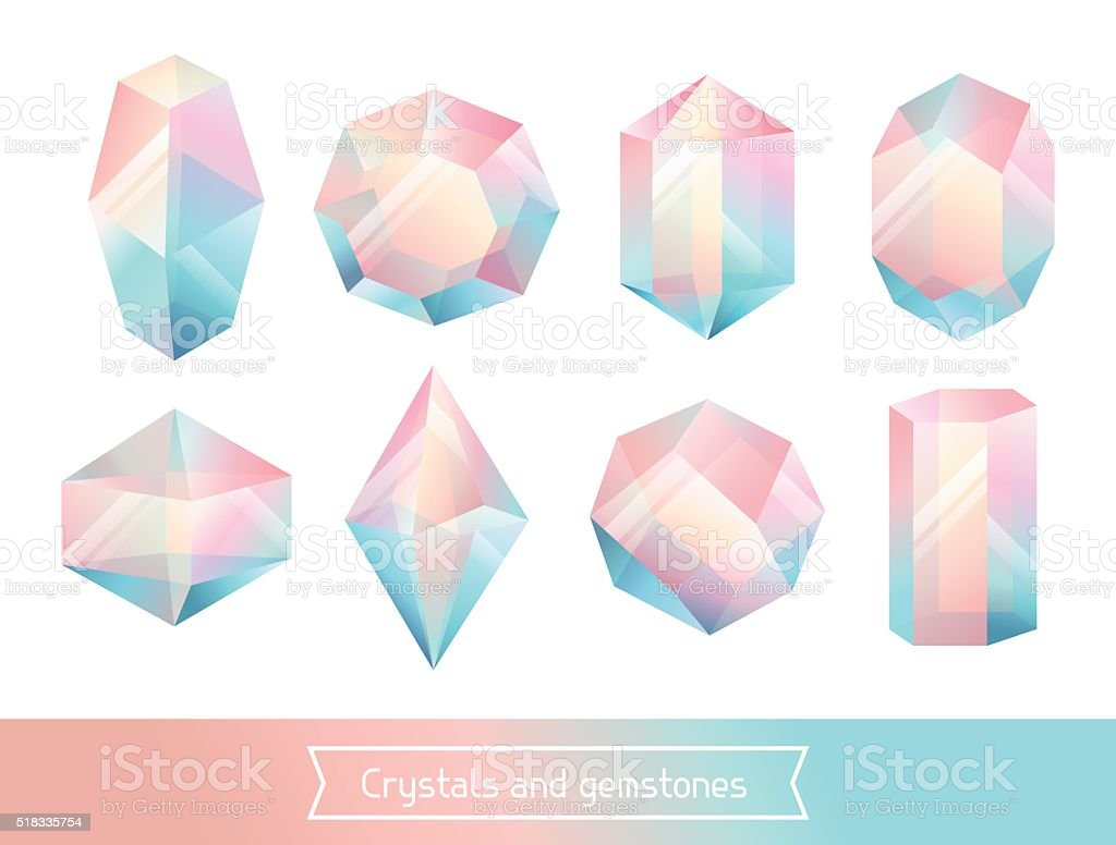 Set of geometric crystals gem and minerals vector art illustration