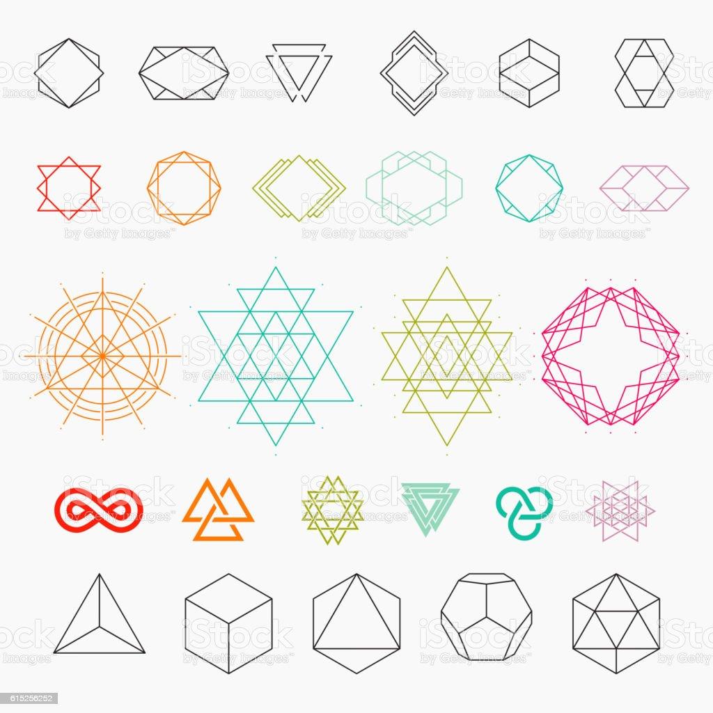 Set of geometric icons vector art illustration