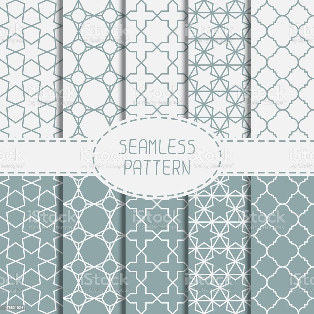Set of geometric lattice seamless arabic pattern. Islamic oriental style. vector art illustration