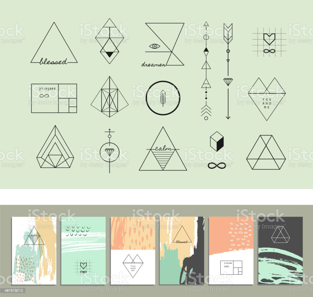 Set of geometric shapes and six templates of creative cards. vector art illustration