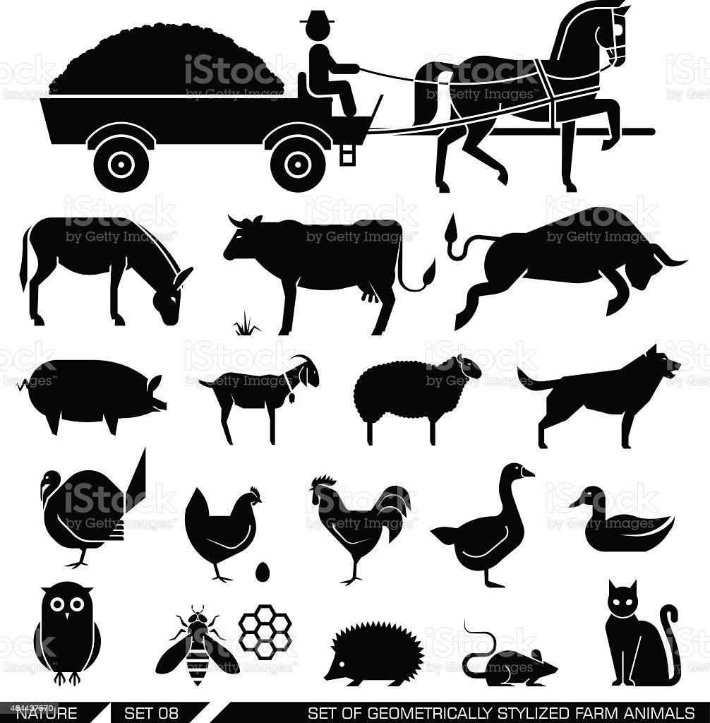 Set of geometrically stylized farm animals vector art illustration