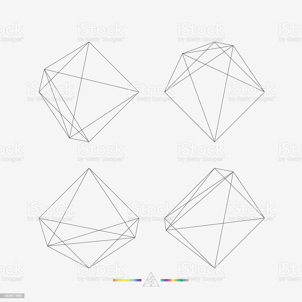 set of geometry line pattern vector art illustration