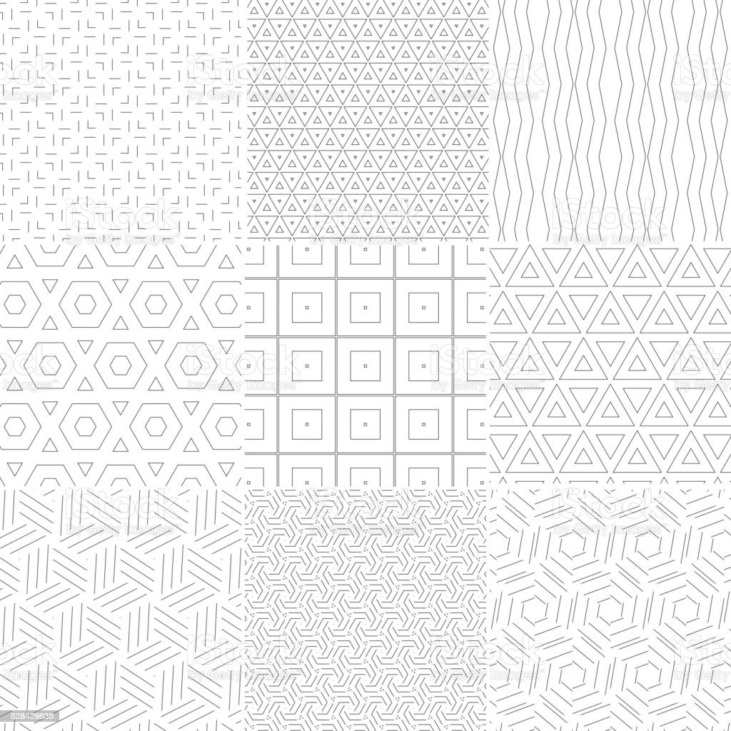 set of geometry seamless pattern background vector art illustration