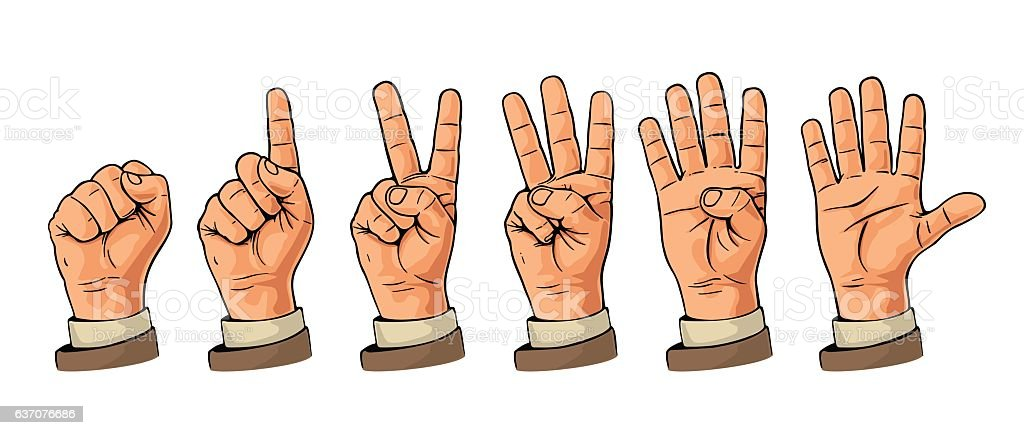 Set of gestures hands counting from zero five. Hand sign. illustracion libre de derechos libre de derechos