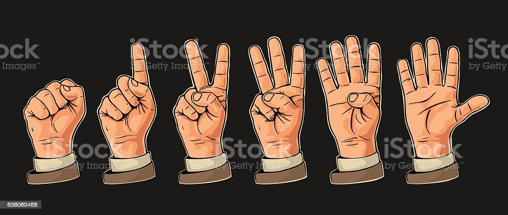 Set of gestures of hands counting from zero illustracion libre de derechos libre de derechos