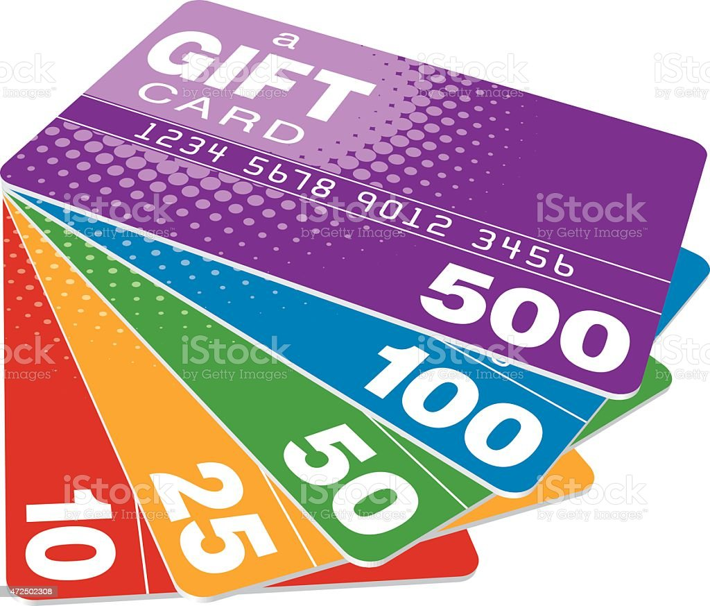 Set of gift cards fanned out on a white surface vector art illustration