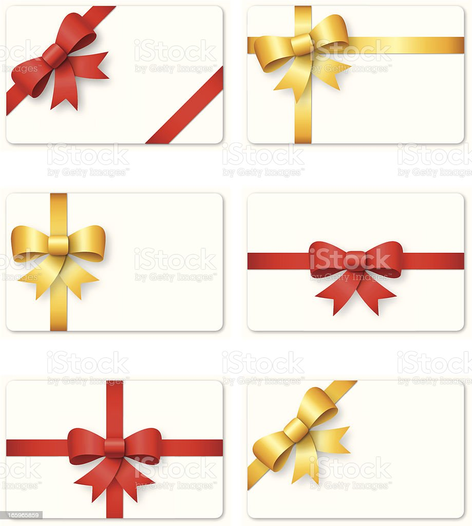 Set of gift cards with decorative bow ribbons vector art illustration