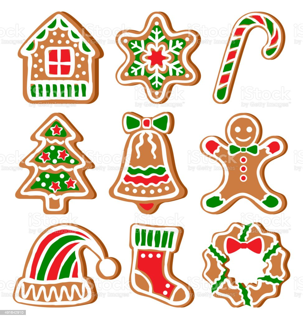 Set of Gingerbread Christmas Cookies Isolated on White vector art illustration