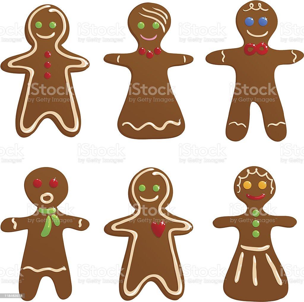 Set of Gingerbread cookies vector art illustration