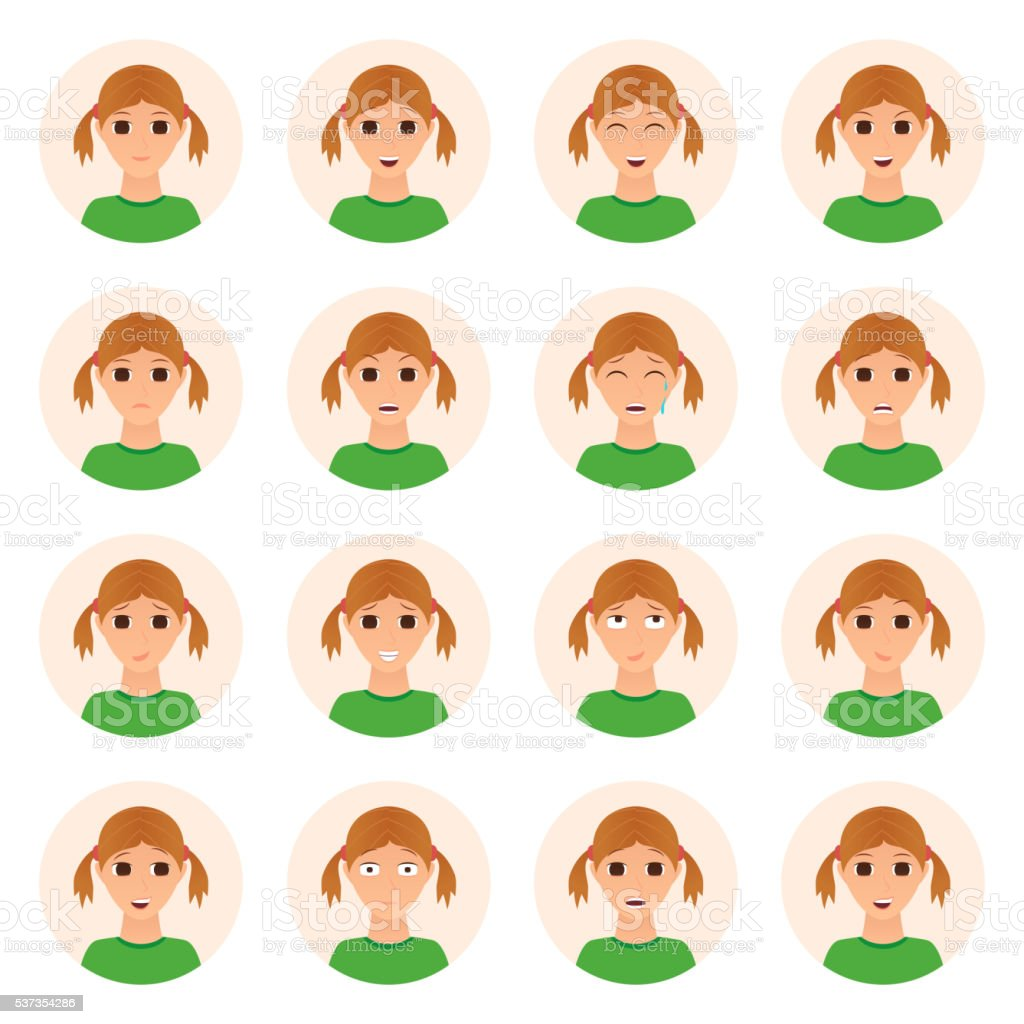 Set of girl emotions icons royalty-free stock vector art