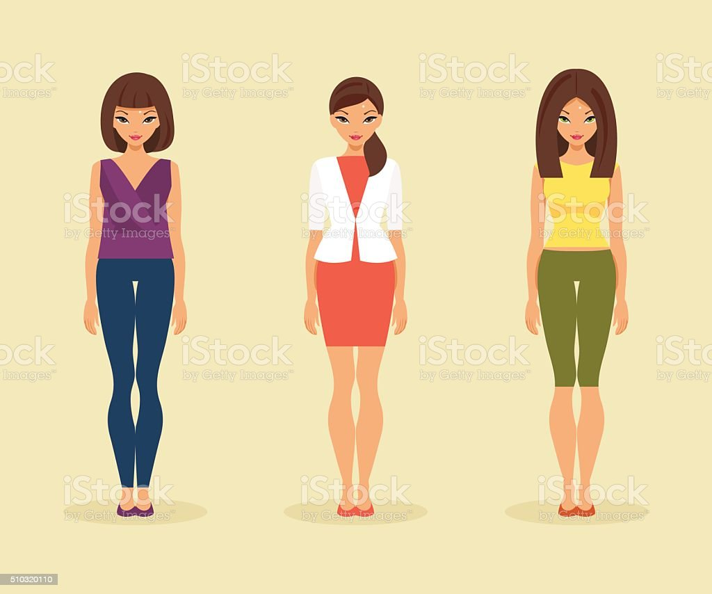 Set of girls in their everyday clothes. Vector illustration vector art illustration
