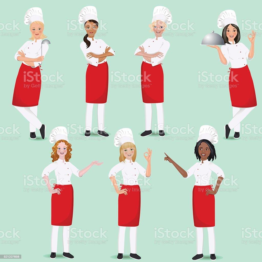 Set of girls, women cook in uniform. clipart vector art illustration