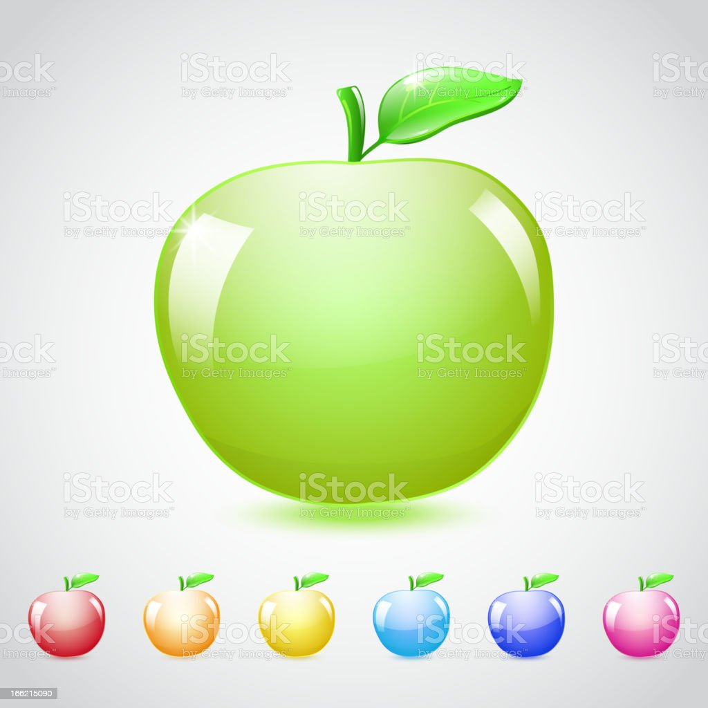 Set of glass apples royalty-free stock vector art