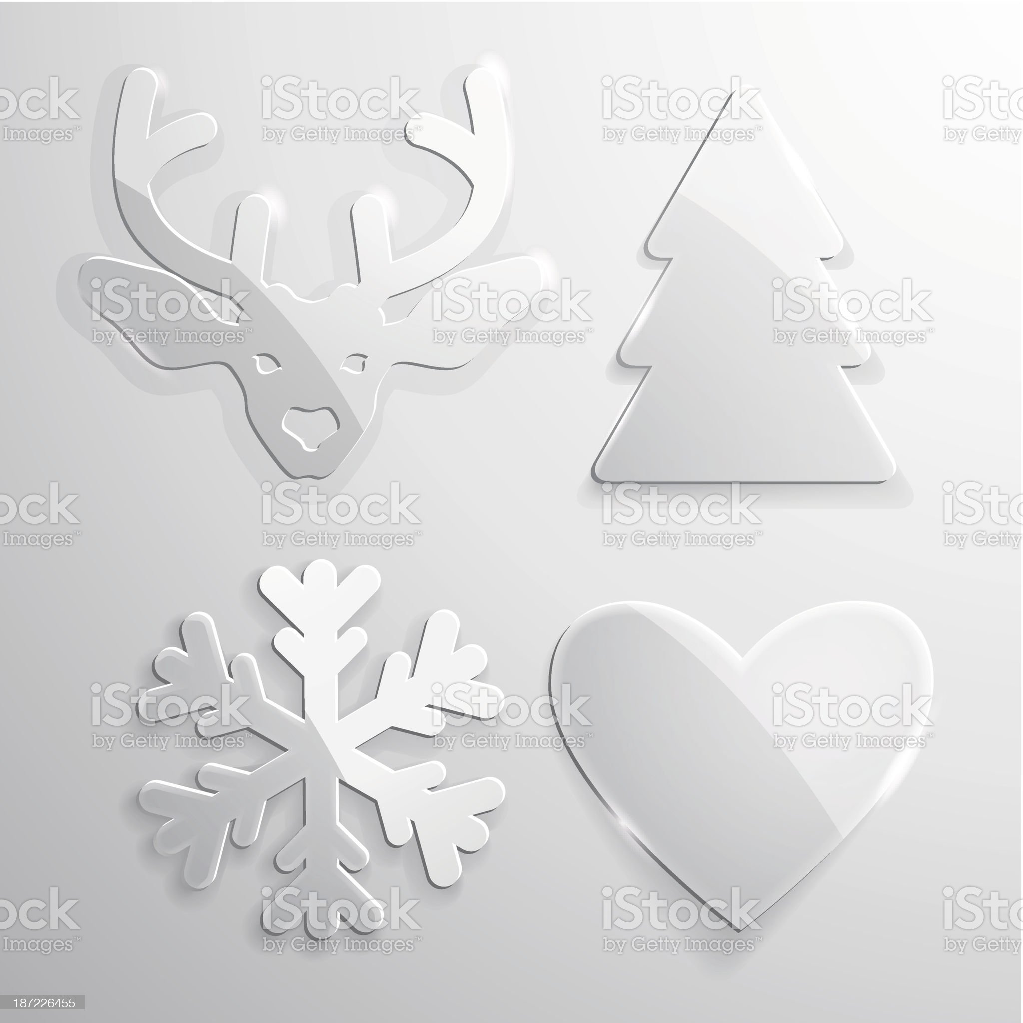 Set of glass Christmas and New Year icons royalty-free stock vector art