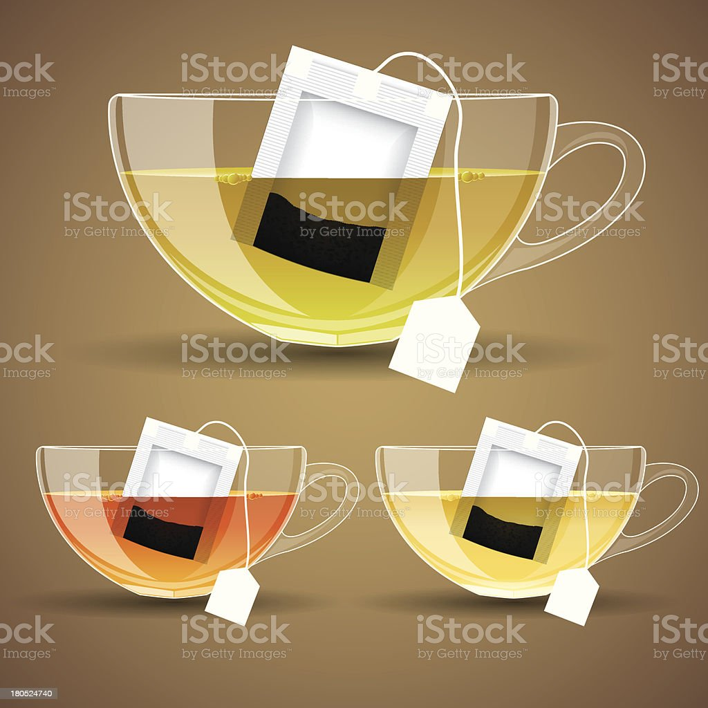 set of Glass cup with tea royalty-free stock vector art