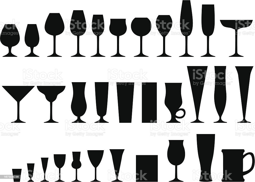 Set of glass goblets royalty-free stock vector art