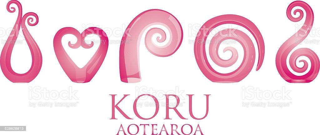 Set of glass Maori Koru curl ornaments. vector art illustration