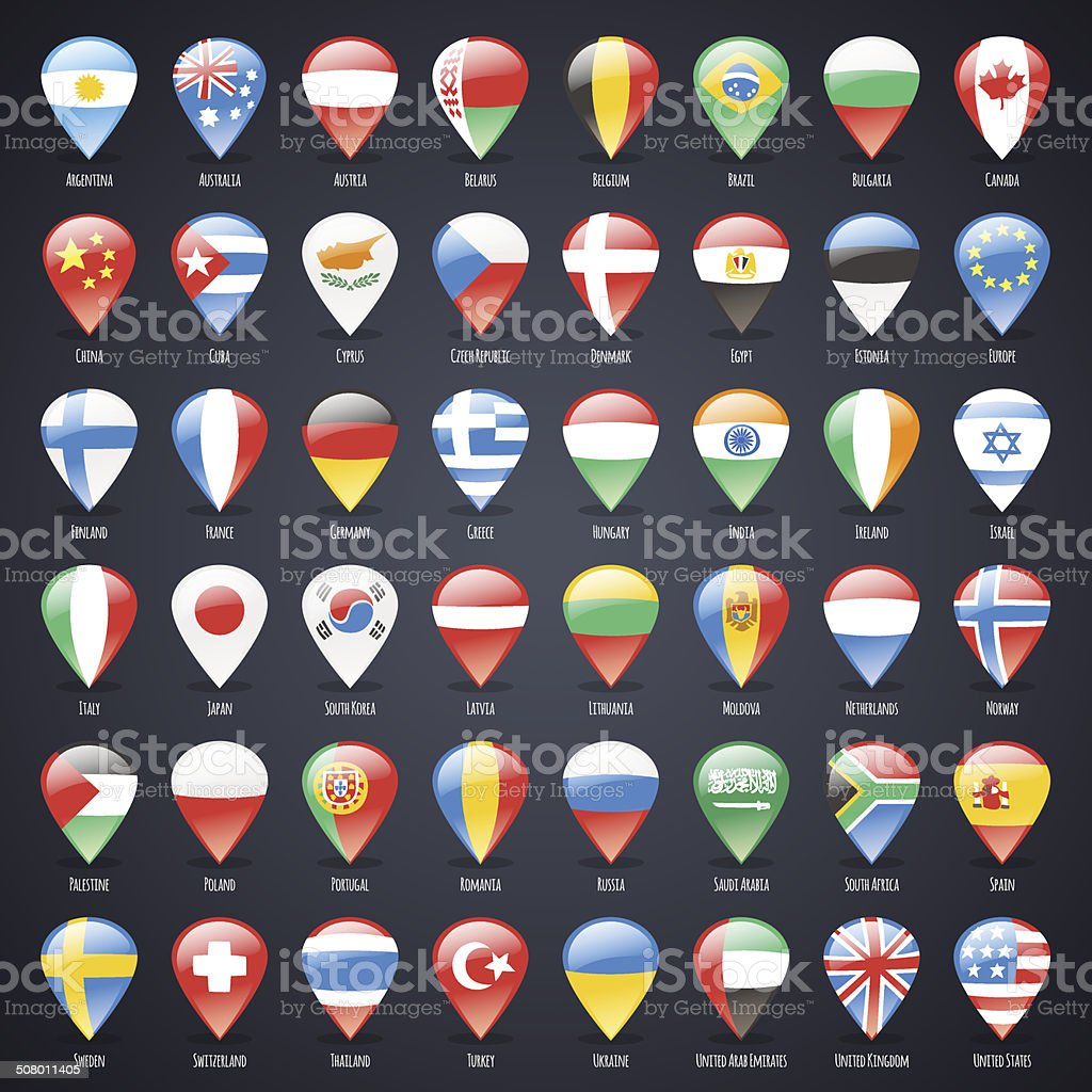 Set of Glass Map Pointers With World States Flags vector art illustration