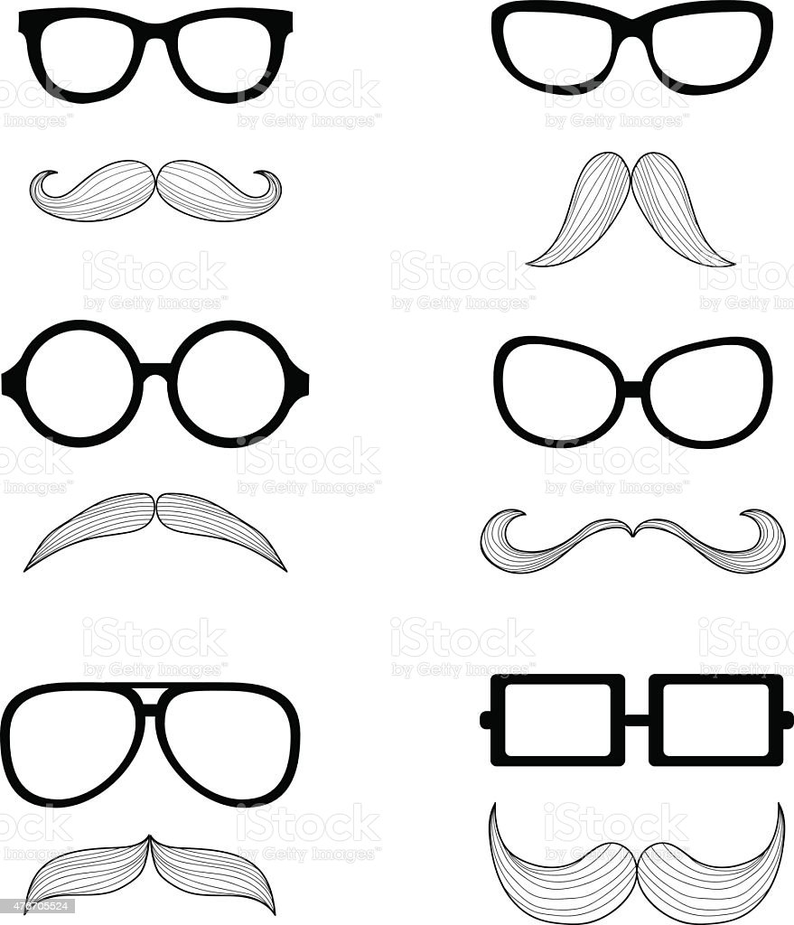 set of glasses and a mustache vector art illustration