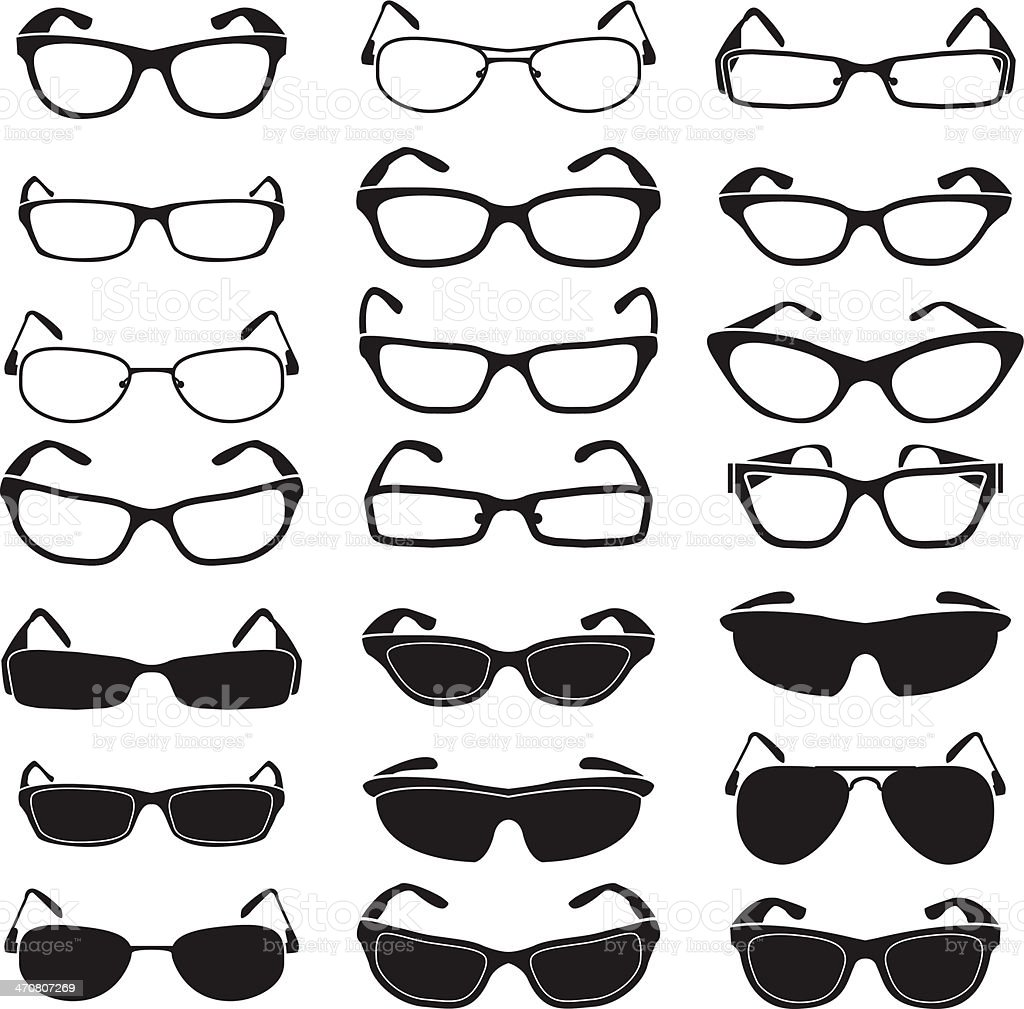 Set of glasses and sunglasses vector art illustration