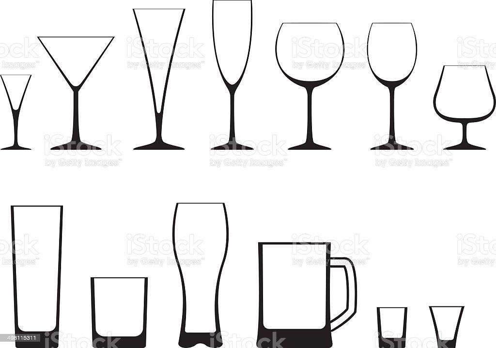 set of glasses royalty-free stock vector art