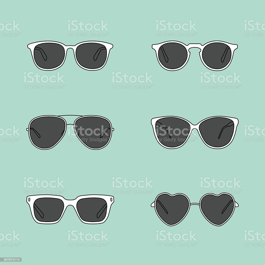 Set of glasses vector art illustration
