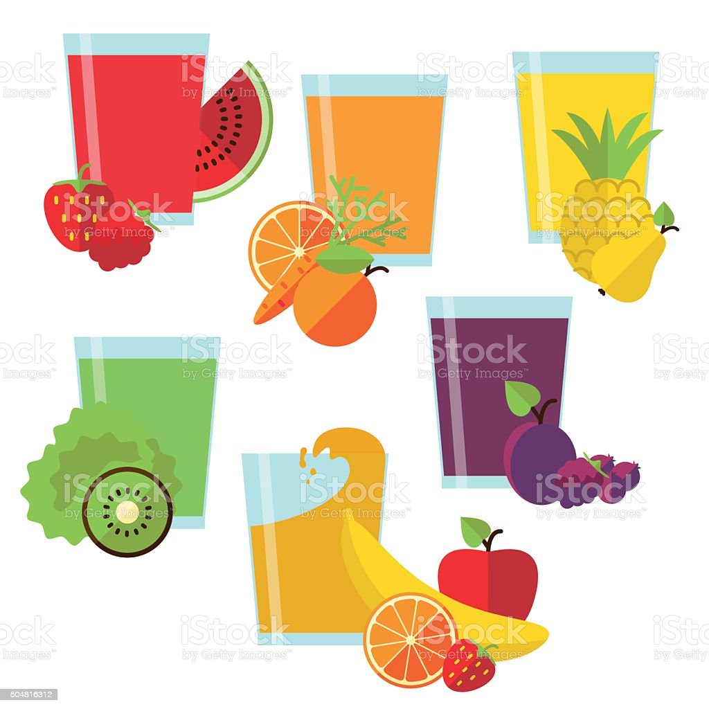 Set of glasses with fresh juice vector art illustration