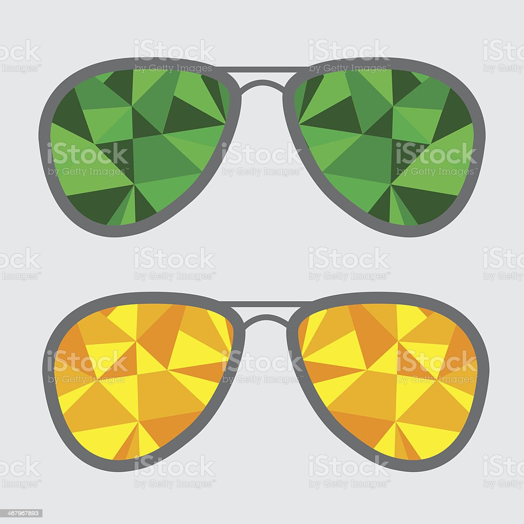 Set of glasses with green and yellow abstract triangles. Polygon royalty-free stock vector art