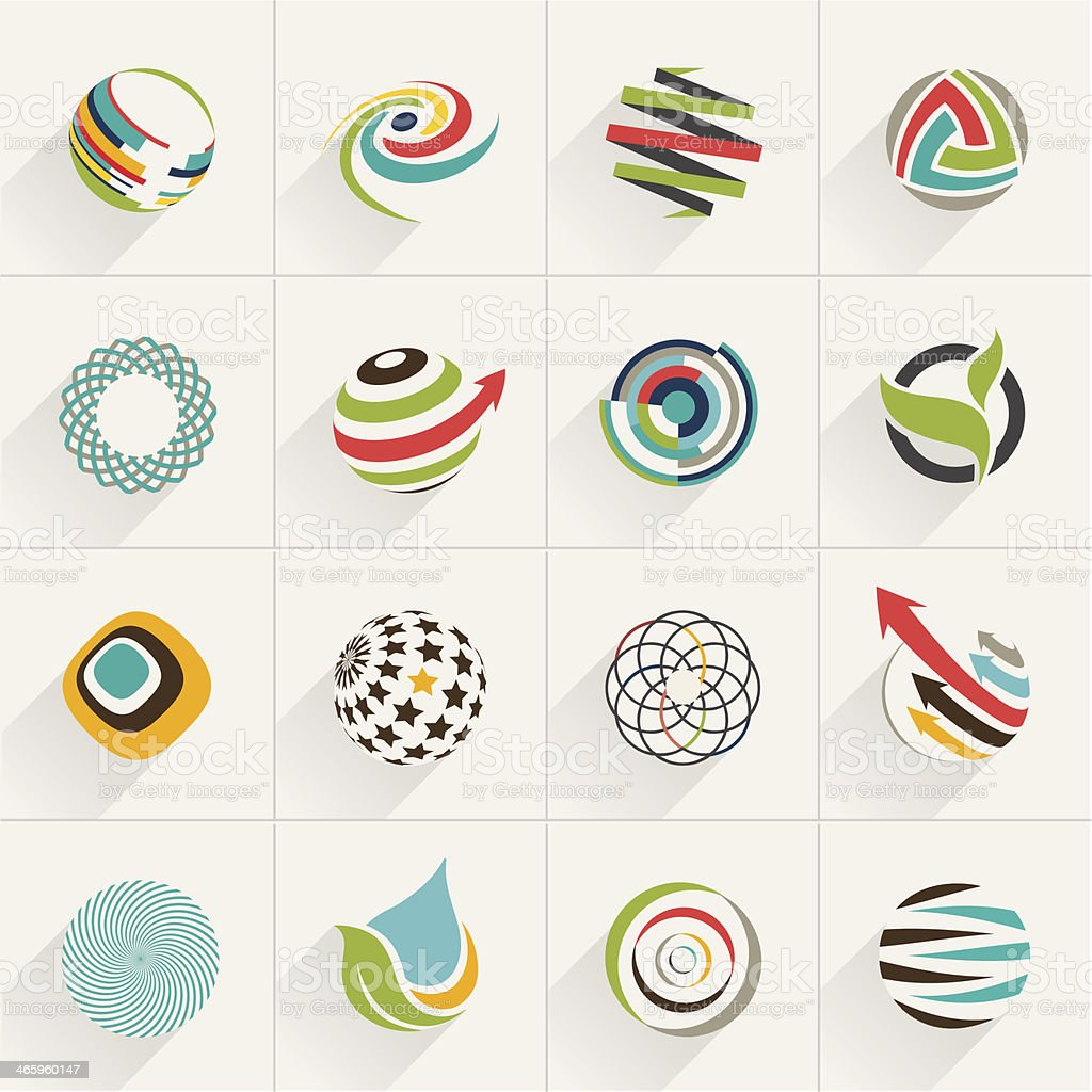 Set of globe web icons and vector logos vector art illustration