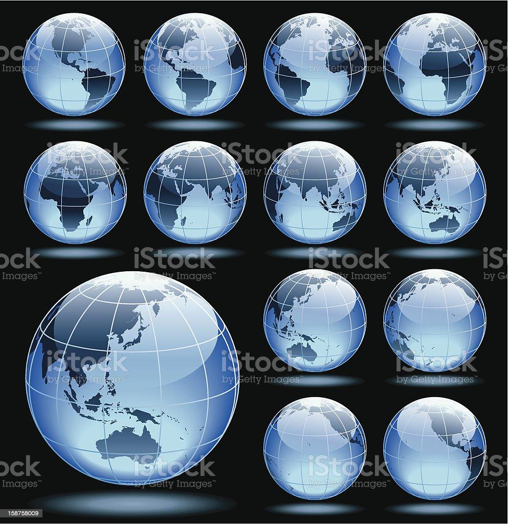 Set of globes royalty-free stock vector art