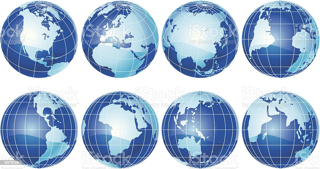 set of globes royalty-free stock vector art