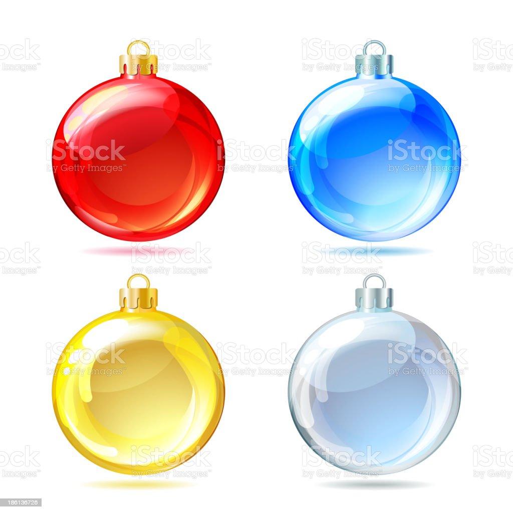 Set of Glossy Christmas balls on white background. royalty-free stock vector art