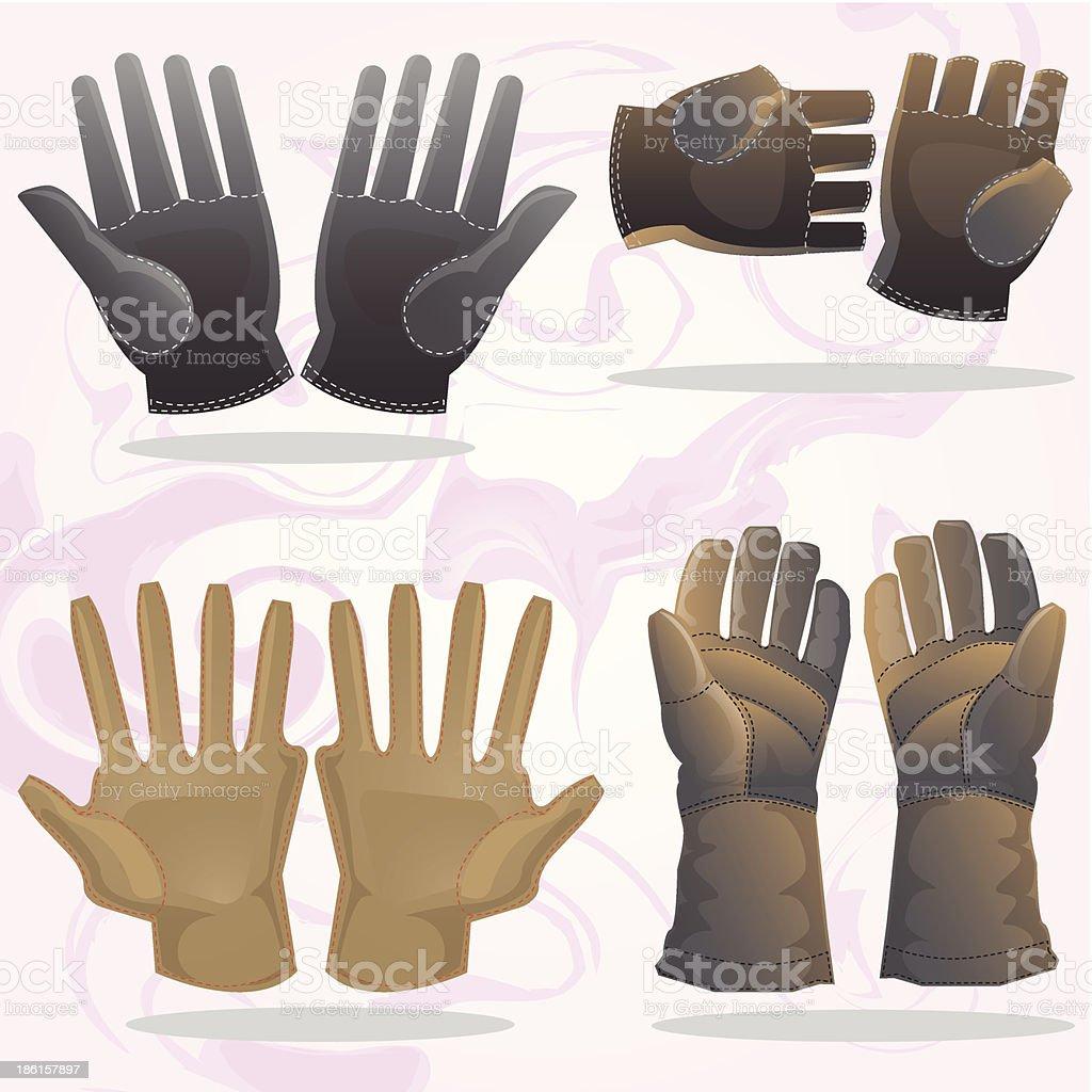 set of gloves vector art illustration