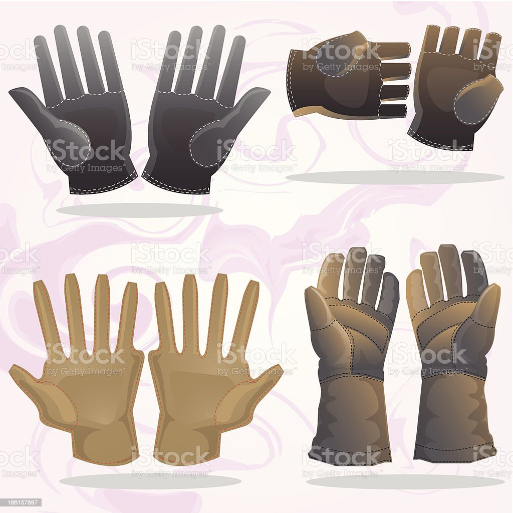 set of gloves vector art illustration