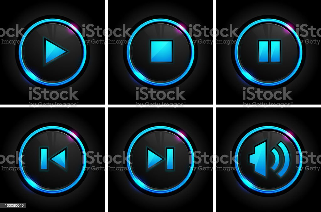 Set of glowing player buttons in six grids vector art illustration