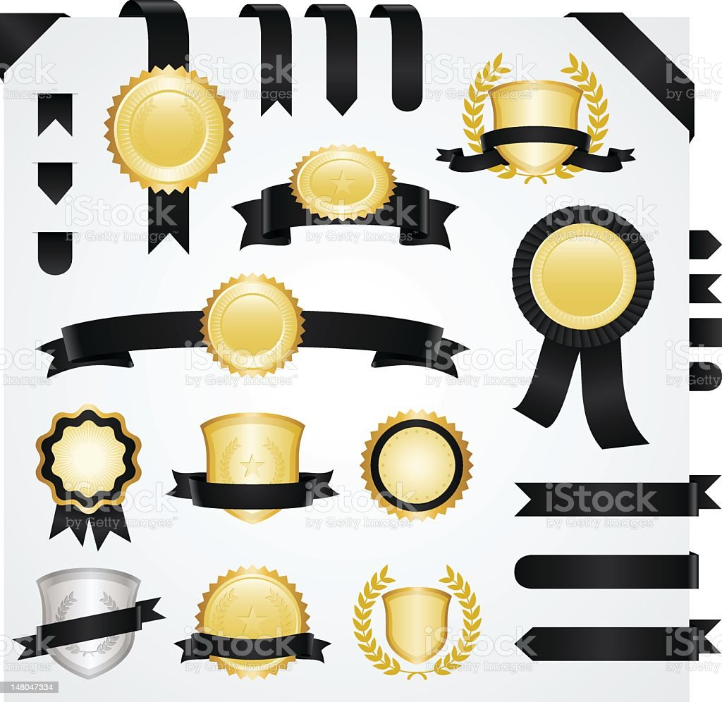 Set of gold and silver badges with black ribbons royalty-free stock vector art