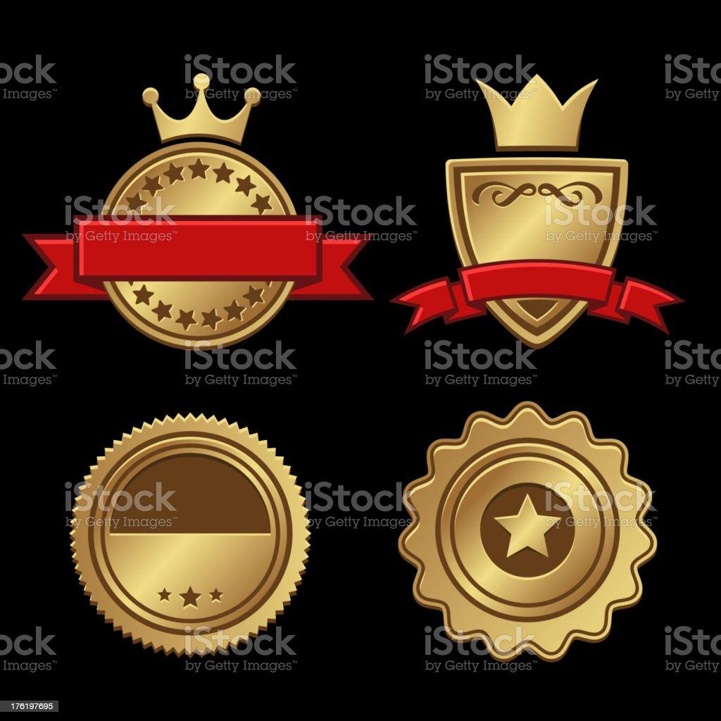 Set of Gold Badges Vintage Award royalty-free stock vector art