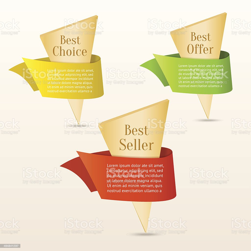 Set of gold banners with color ribbon royalty-free stock vector art