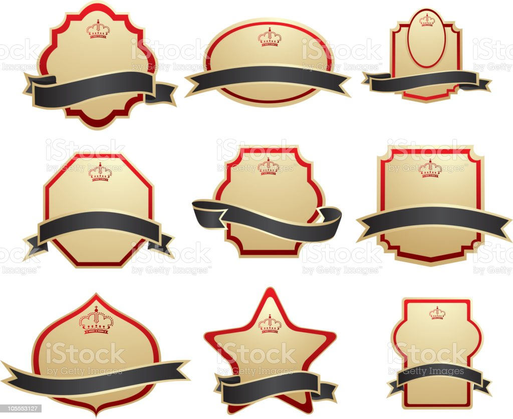 Set of gold labels royalty-free stock vector art
