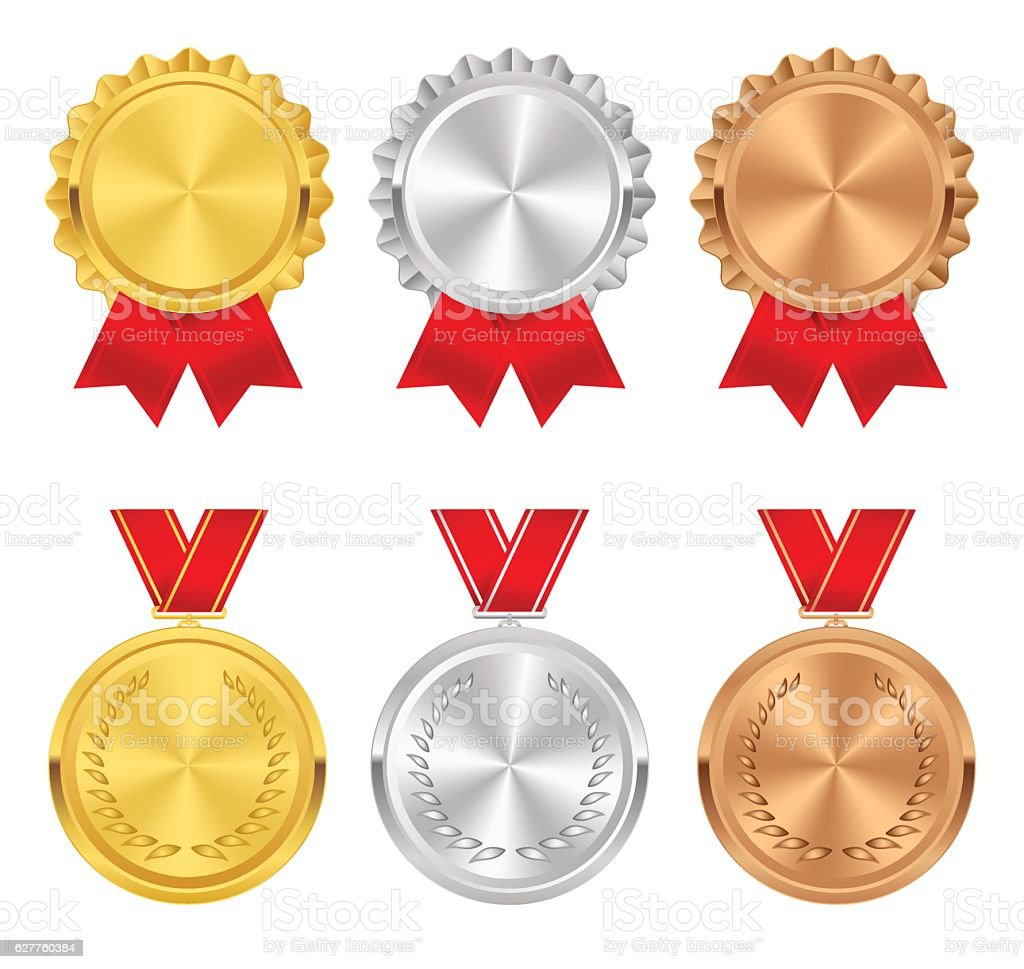 Set of gold, silver and bronze award medals. Rosettes, ribbons. vector art illustration