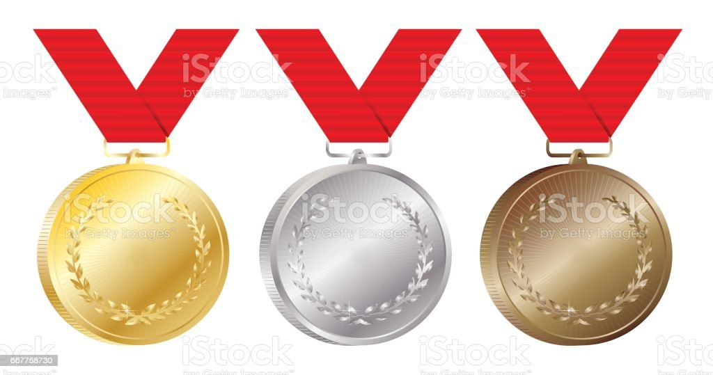 Set of gold, silver and bronze medals vector Illustration on white background vector art illustration