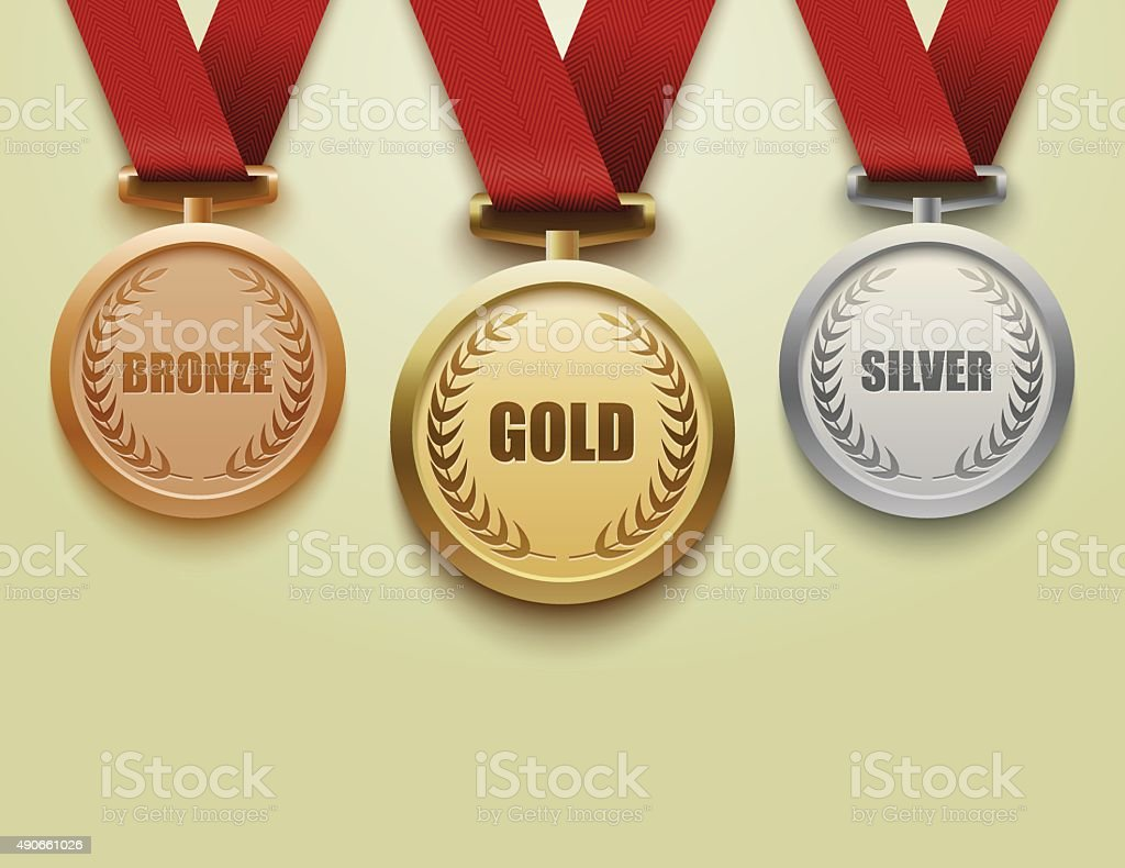 Set of gold, silver and bronze medals.vector vector art illustration