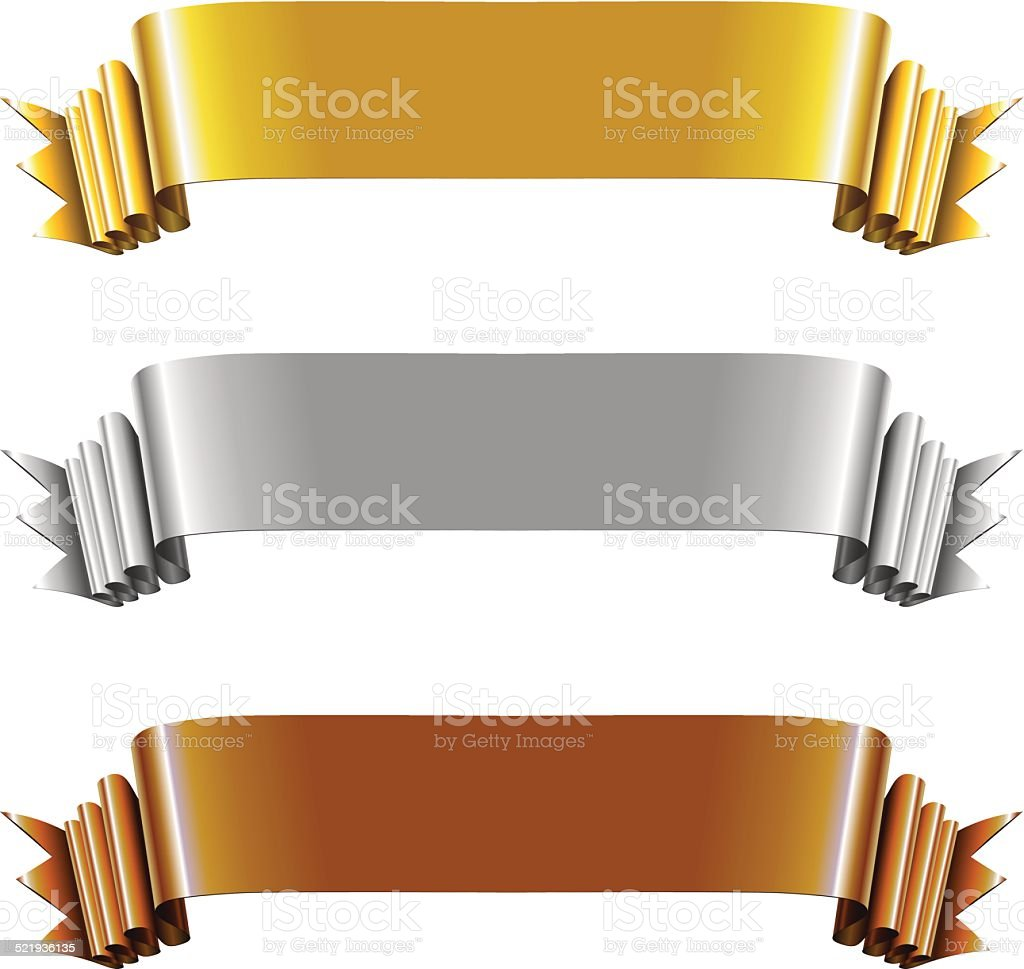 Set of Gold, Silver and Bronze Ribbons vector art illustration