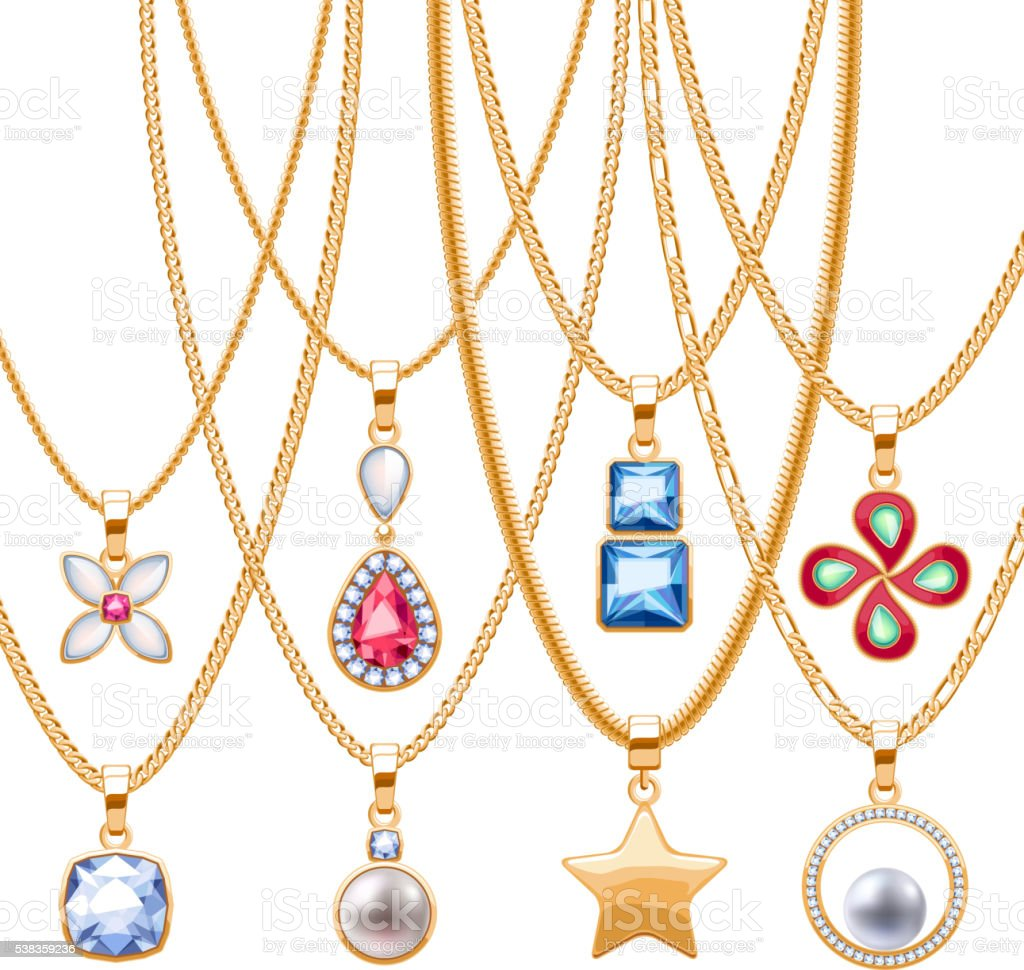Set of golden chains with different pendants. vector art illustration