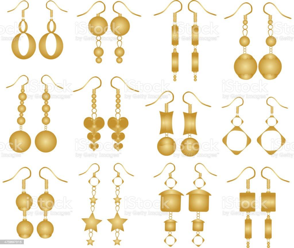 Set of golden earrings vector art illustration