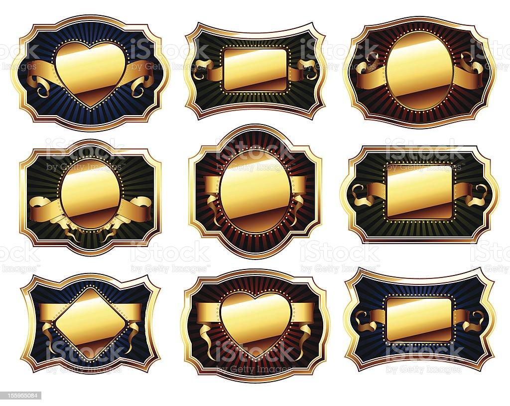 set of golden frame royalty-free stock vector art
