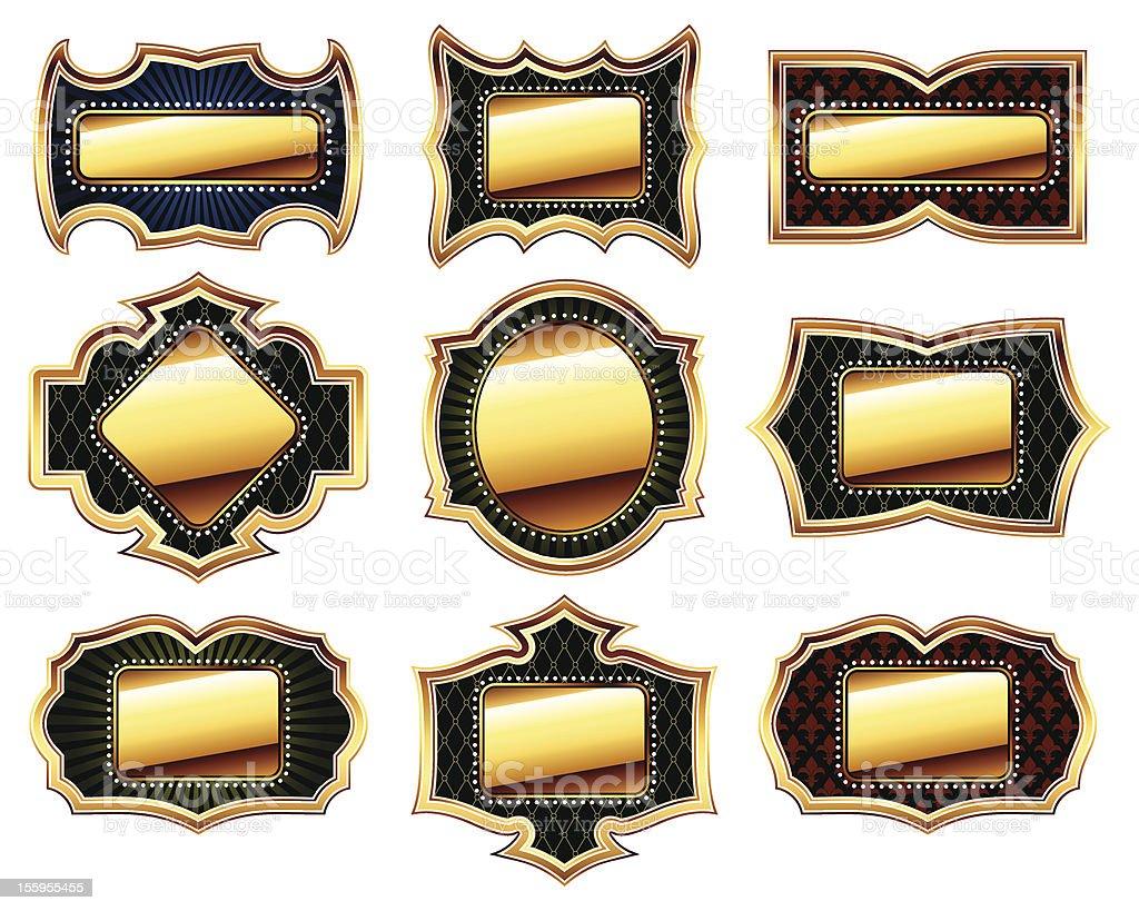 set of golden frames royalty-free stock vector art