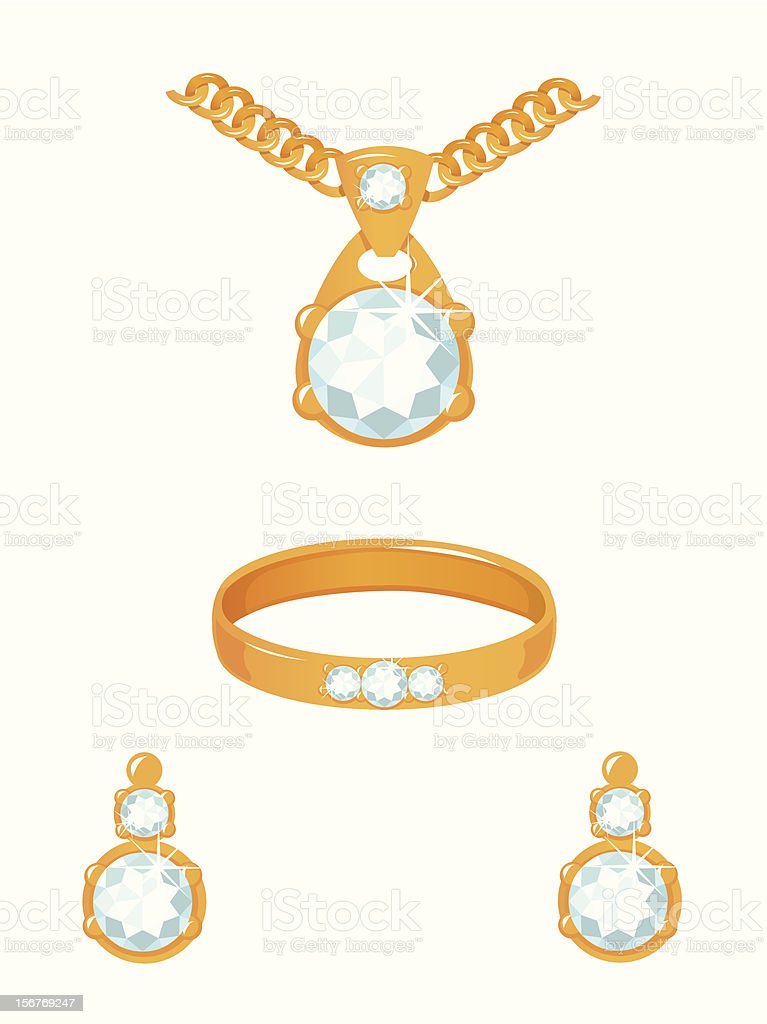 Set of golden jewelry with diamonds royalty-free stock vector art
