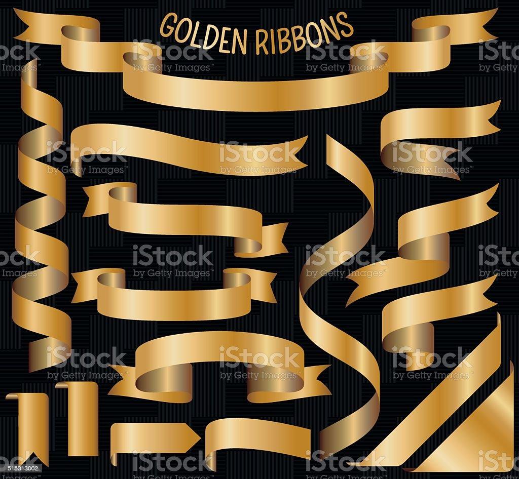 Set of golden ribbons. Vector illustration vector art illustration