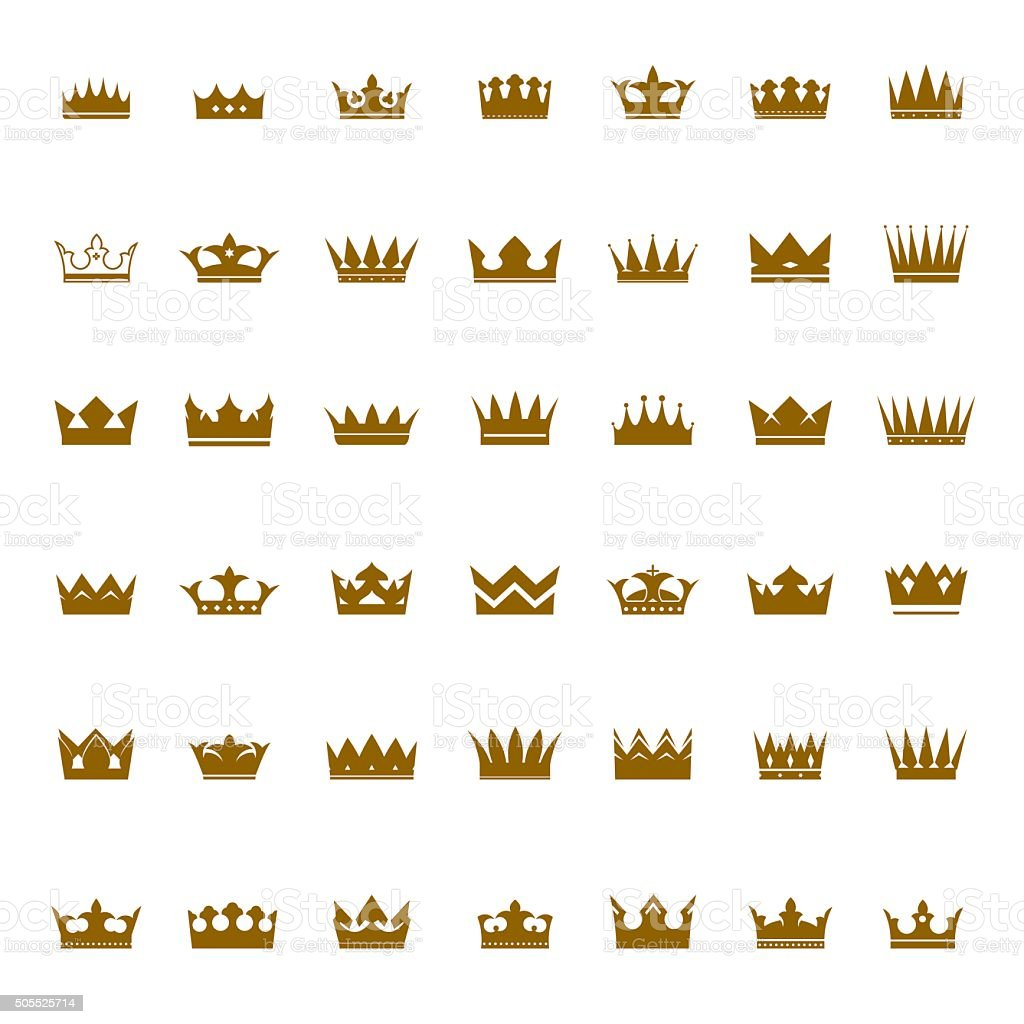 Set of golden vector crowns and icons vector art illustration